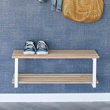 Schuhregal aus Eiche Massivholz Weiß Stahl