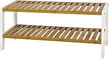 Schuhregal in Weiß Bambus 70 cm breit