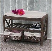 Schuhregal massivholz braun Sitzbank Vintage Garderobenbank massiv Holz Bank