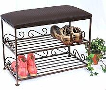 Schuhregal mit Sitzbank Art.165 Bank 60cm Schuhschrank aus Metall Schuhablage Schuhbank
