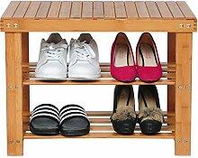 Schuhregal Schuhbank aus Bambus , Badregal Garderobenbank mit Sitzbank Regal , 60 x 29 x 45 cm , natur , SR0038