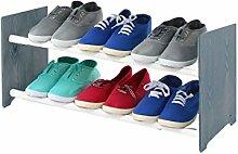 Schuhregal Schuhschrank Schuhe Schuhständer RBS-2-65 (Seiten dunkelgrau, Stangen in der Farbe weiß)