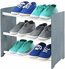 Schuhregal Schuhschrank Schuhe Schuhständer RBS-3-45 (Seiten dunkelgrau, Stangen in der Farbe weiß)