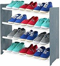 Schuhregal Schuhschrank Schuhe Schuhständer RBS-4-65 (Seiten dunkelgrau, Stangen in der Farbe weiß)