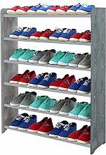 Schuhregal Schuhschrank Schuhe Schuhständer RBS-6-90 (Seiten dunkelgrau, Stangen in der Farbe grau)