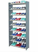 Schuhregal Schuhschrank Schuhe Schuhständer RBS-9-65 (Seiten dunkelgrau, Stangen in der Farbe grau)