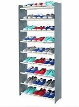 Schuhregal Schuhschrank Schuhe Schuhständer RBS-9-65 (Seiten dunkelgrau, Stangen in der Farbe weiß)
