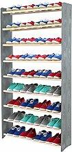Schuhregal Schuhschrank Schuhe Schuhständer RBS-9-90 (Seiten dunkelgrau, Stangen in der Farbe weiß)