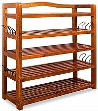 Schuhregal Schuhschrank Schuhständer Schuhablage Regal Holz ✔mit 5 Ebenen ✔aus Akazien Hartholz ✔inkl. 8 Schuhhaken ✔vielseitig nutzbar ✔(BxHxT) 64x82x26 cm