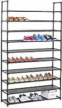 Schuhregal Stoffregal Kellerregal l ILONA, 10 Böden im einfachen Stecksystem, genügend Platz für ca. 50 Paar Schuhe, in der Farbe schwarz