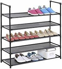Schuhregal Stoffregal Kellerregal l WILLY, 5 Böden im einfachen Stecksystem, genügend Platz für ca. 20 Paar Schuhe, in der Farbe schwarz