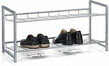 Schuhregal SYSTEM Schuhständer Schuhablage mit 2 Fächern für ca. 8 Paar Schuhe, 80 cm breit, Metall silber lackier