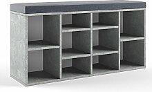 Schuhschrank 10 Schuhe Schuhbank Schrank Bank Regal Auflage Sitzbank - Beton - 104x53,4x30cm (BxHxT) - inkl. Sitzauflage Anthrazi