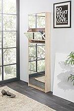 Schuhschrank 'Juan' Schuhkipper Schuhkommode 5 Fächer Spiegelfront Modern, Farbe:Sonoma Eiche