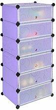 Schuhschrank Kinderregal Flur Steck Regal Standregal Schuhregal Sideboard in Lila mit 6 transparenten Türen zum optionalen Einsatz