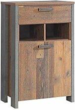 Schuhschrank Kommode Clif 1-TRG. Optik: Old Wood