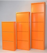 Schuhschrank Mit 4 Klappen orange Schuhschränke