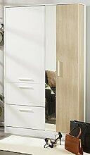 Schuhschrank weiß / grau 1 Tür B 118 cm Drehtürenschrank Kleiderschrank Jugendzimmer Schuhablage Garderobenschrank Schuhregal