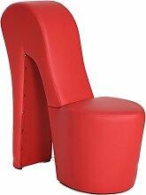 Schuhsessel Eve 42x99x97 cm Kunstleder rot High Heel Stuhl Designersessel mit Nieten Hocker Designerstuhl