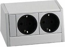 Schulte 159800006500 Evoline R-Dock, 2 x VDE Steckdosen Aluminium