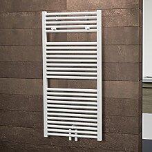 Schulte Bad-Heizkörper Pyrenäen, Mittelanschluss, 121x60 cm, 800 Watt Leistung, alpin-weiß, Design-Heizkörper für Zweirohrsysteme