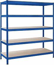 Schulte Schwerlast-Steckregal XXL-Regal Metall, 180x160x60 cm, Traglast 1000 kg, 5 Holz-Böden, blau, Stecksystem ohne Schrauben