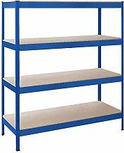 Schulte Schwerlast-Steckregal XXL-Regal Metall, 180x160x60 cm, Traglast 1000 kg, 4 Holz-Böden, blau, Stecksystem ohne Schrauben
