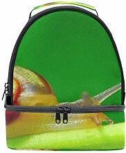 Schulter Double Lunch Tasche Schnecke auf Grün