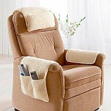 Schurwoll-Sessel-Komfort-Set , Kissen Set für Sessel, bestehend aus Nackenkissen und Armlehnenschonern mit Taschen, aus Schurwolle