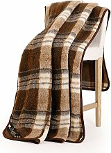 Schurwolle Merino Wolldecke 100% Natur Decke Wohndecke Bettdecke Tagesdecke 100% Wolle (200 x 240 cm, Quadrate Braun)