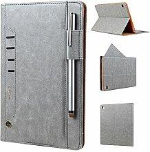 Schutzhülle für iPad Mini 4 Leder, elecfan Multi-Winkel Betrachtung Folio Stand Schutzhülle Hülle Etui Tasche Smart Case Cover mit mit Stifthalter, Dokumentschlitze, Standfunktion für Apple iPad Mini 1 / iPad Mini 2 / iPad Mini 3 / iPad Mini 4 Tablette - Grau