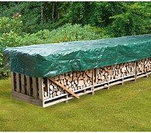 Schutzhülle für Kaminholz, ca. 600x150 cm, Material: PE, in dunkelgrün