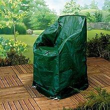 Schutzhülle Stapelstuhl Abdeckung Abdeckungen für Stapelstühle XL - aus reiß- und wetterfeste gewobenem 130 gsm PE-Gewebe - Maße 120 cm hoch, 64 cm breit und lang