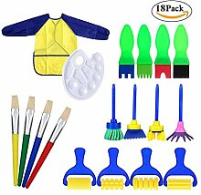Schwamm Malerei Pinsel Set kinder, 18 Stück Frühes Zeichnung Pinsel-Set Werkzeuge Art Craft Stempel Sponge Paint Brush für DIY Kunsthandwerk Kinder Early Learning Puzzle Spielzeug Graffiti