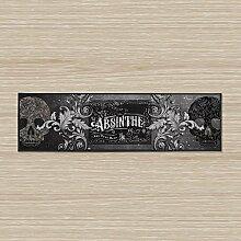Schwarz Absinthe & Totenkopf Design groß 88,9x 24,1cm Bar Läufer Bar Clubs Pub