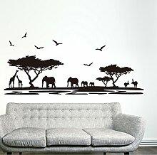 Schwarz Bäume Tiere Vögel Wandtattoo House Aufkleber abnehmbarer Wohnzimmer Tapete Schlafzimmer Küche Art Bild Wandmalereien Sticks PVC Fenster Tür Dekoration + 3D Frosch Auto Aufkleber Geschenk
