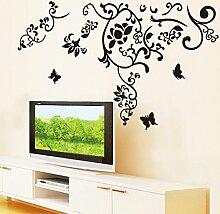 Schwarz Blätter Blumen Schmetterlinge Wandtattoo House Aufkleber abnehmbarer Wohnzimmer Tapete Schlafzimmer Küche Art Bild Wandmalereien Sticks PVC Fenster Tür Dekoration + 3D Frosch Auto Aufkleber Geschenk