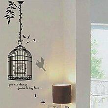 Schwarz Blätter Wandtattoo Vogelkäfig Vögel House Aufkleber abnehmbarer Wohnzimmer Tapete Schlafzimmer Küche Art Bild Wandmalereien Sticks PVC Fenster Tür Dekoration + 3D Frosch Auto Aufkleber Geschenk