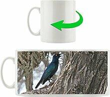 schwarz blauer Vogel, Motivtasse aus weißem Keramik 300ml, Tolle Geschenkidee zu jedem Anlass. Ihr neuer Lieblingsbecher für Kaffe, Tee und Heißgetränke.