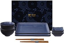 Schwarz / Blaues Sushi-Set mit Essstäbchen -