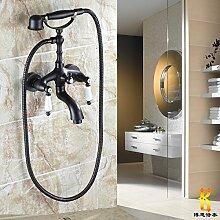 Schwarz Bronze alle Bronze Antik Dusche Badewanne Armatur europäischen Dusche Wasserhahn hand Spray kann drehen, um ein