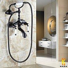 Schwarz Bronze alle Bronze Antik Dusche Badewanne Armatur europäischen Dusche Wasserhahn hand Spray set B drehen können.