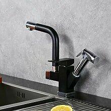 Schwarz + Chrom Küchenarmatur mit herausziehbarer