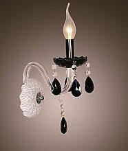Schwarz Crystal Wand Leuchte Lampe Kerze mit 220-240V