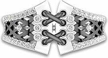 Schwarz-Gold Ring Hohl Blume Ring Diamant Ring
