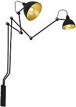 Schwarz Gold Wandlampe Metall flexibel 2-flammig