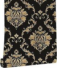 Schwarz-goldene Damast-Wandtapete, 45 cm x 90 m,
