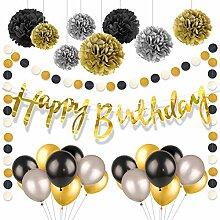 Schwarz-goldene Geburtstagsdekorationen