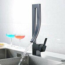 Schwarz Kupfer Waschbecken mit warmen und kalten Hähne die Tür ein Loch Küche Armatur Wasserfall Armatur austritt Zuckerwatte