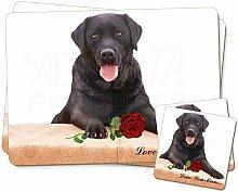 Schwarz lab mit Rose 'Love You Mum' Twin